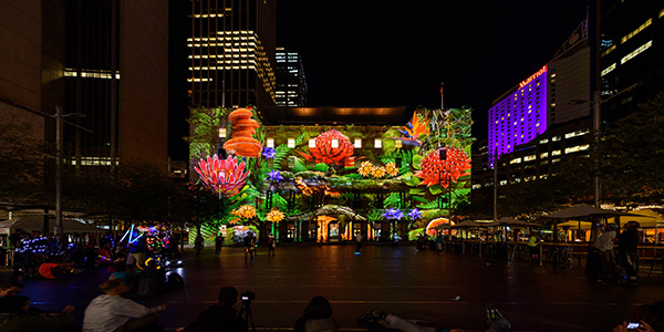 Enchanted Sydney: Award-winning experiential agency, Spinifex Group partnered with TDC for their technical expertise to create a tribute to Sydney's illustrious flora and fauna on to the façade of Custom House for Vivid Sydney.
